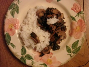 Mushrooms with chard and rice.